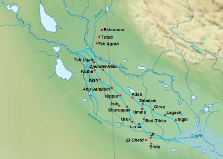 Sumeryjskie miasta z III tys p.n.e. źródło