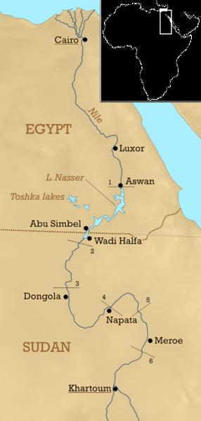 Egipskie katarakty. Katarakta to skalny próg na rzecze, który dośc skutecznie utrudnia żeglugę. Źródło