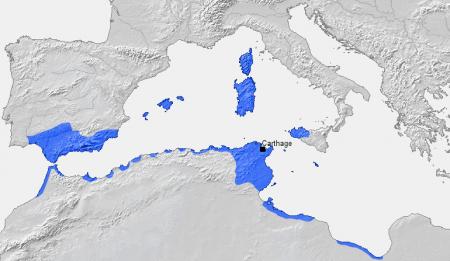 Ziemie Kartaginy przed kląska w I wojnie punickiej - 241 r p.n.e. Źródło