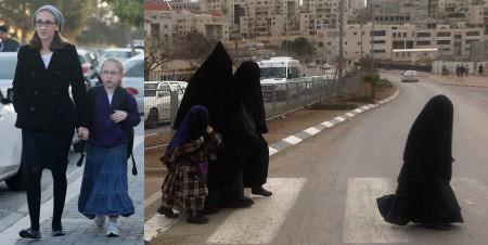 8-letnia Naama z mamą. Wyzywająco ubrana i kobiety i dziewczynka jak Naama ubrane godnie według talibów z Bet Szemesz. Źródło 1 i 2
