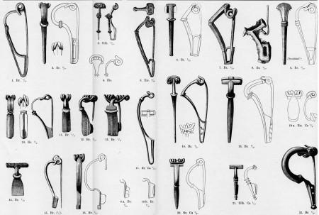 Przykładowa strona z typologii fibul według Oscara Almgrena