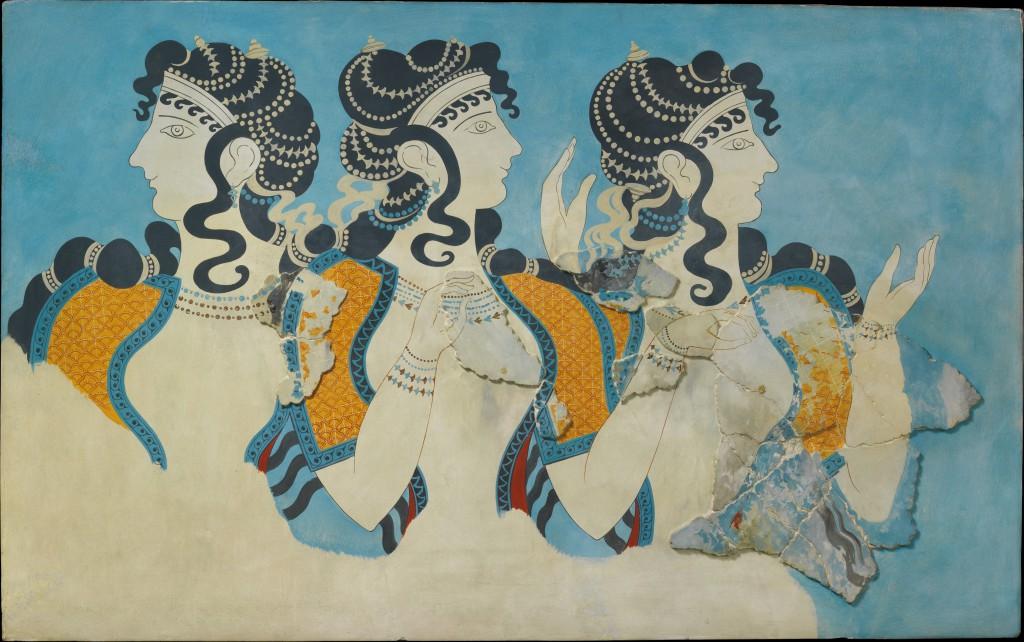 """""""Ladies in Blue"""" - fresk z Knossos, Kreta. XV w p.n.e. Źródło."""