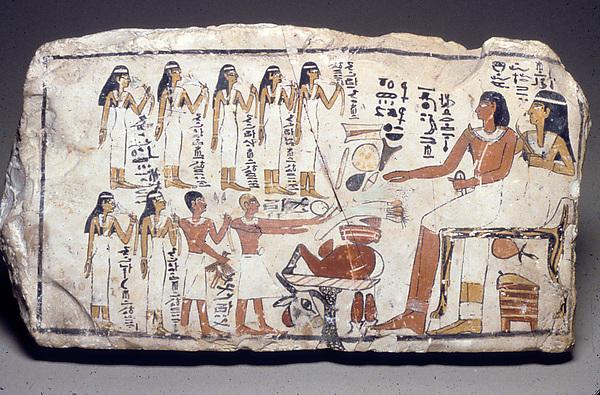 Ta egipska scenka jest datowana na 1700-1550 p.n.e. Źródło