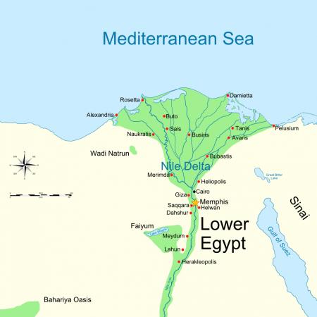 Górny Egipt zajęty przez Hyksosów. Źródło